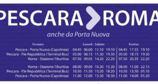 Attiva da domani la fermata dei bus per Roma di Pescara Porta Nuova. Ore 11 prima corsa