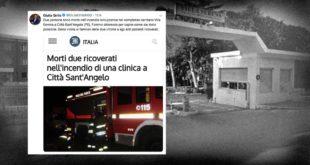 Città Sant'Angelo tragico incendio a Villa Serena, 2 vittime. Interviene il Ministro Grillo