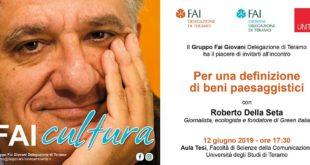 Roberto Della Seta a Teramo per parlare di beni paesaggistici, con il Gruppo FAI Giovani