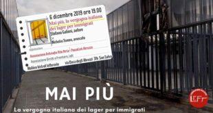 """San Salvo, 6 dicembre. Presentazione libro """"Mai più, la vergogna italiana dei lager per immigrati"""""""