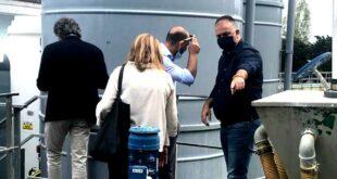 Sindaco Di Montesilvano e vice con i tecnici Aca visitano l'impianto di depurazione liquami a  Fermo