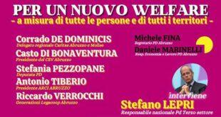 PD Abruzzo in ascolto, venerdì 22 gennaio 'welfare e terzo settore'